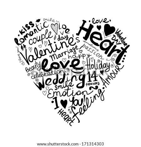 Valentine heart sketch for your design - stock vector