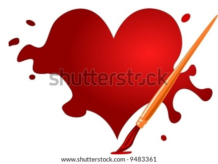 Valentine heart with brush - stock vector