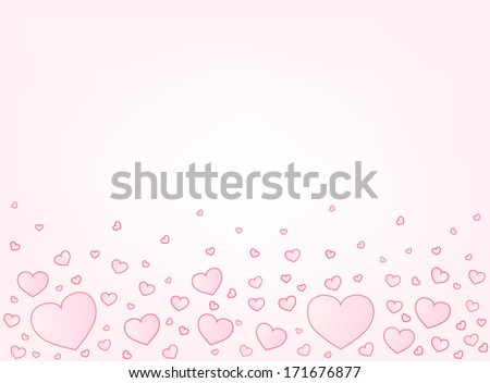 Valentine hearts letter card vector illustration background with copyspace top - stock vector
