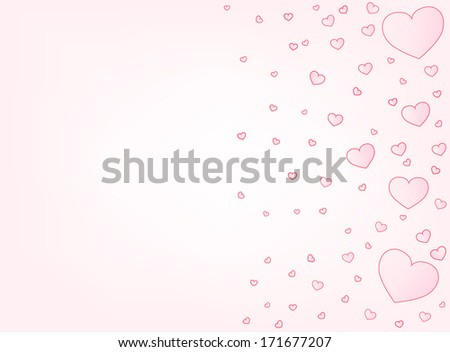Valentine hearts letter size card vector background with copyspace left - stock vector
