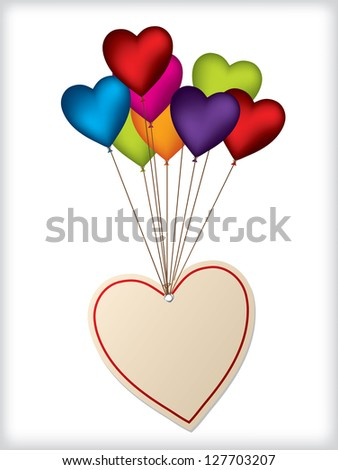 Valentine label design with heart shaped color balloons - stock vector