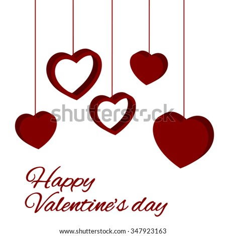 Valentine love background with hearts hanging. vector illustration - stock vector
