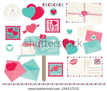 Valentine Love Letters - stock vector