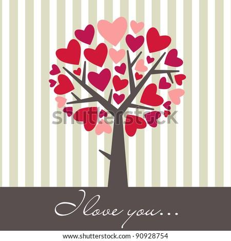 Valentine Love Tree - stock vector