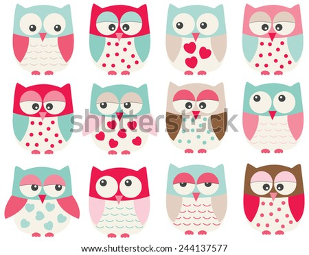 Valentine Owls - stock vector