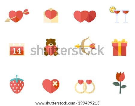 Valentine related items icon series in flat colors style. - stock vector