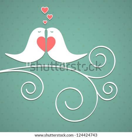 Valentine's background with birds. Vector illustration - stock vector