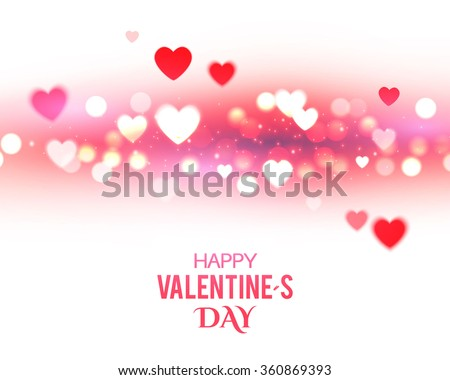 Valentine's Background with Blur Hearts. Greeting Card. Vector illustration - stock vector