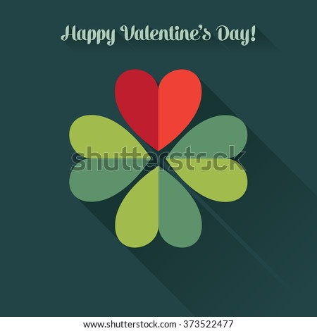 Valentine's card, four-leaf clover created from hearts. Flat design - stock vector