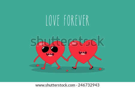 Valentine's card. Valentine's heart. Love forever. Two red love heart - stock vector