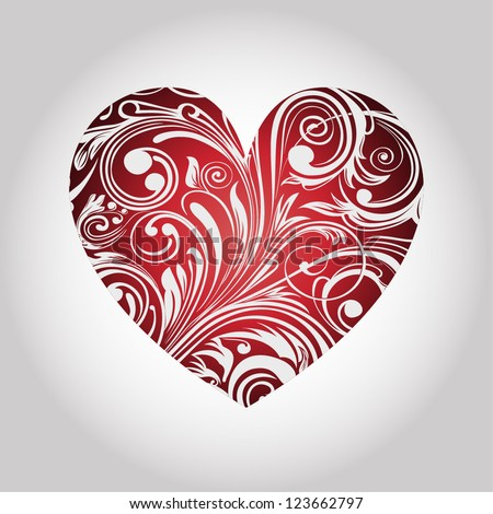 Valentine's card with heart - stock vector