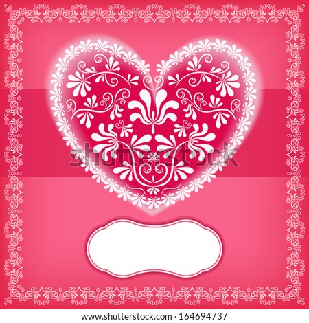Valentine`s card with heart. Vector illustration. - stock vector