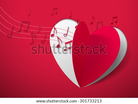 Valentine's Day Abstract Background with Cut Paper Heart and Music Notes, Vector Illustration - stock vector