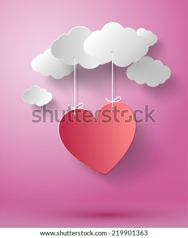 Valentine's day abstract background with cut paper heart. Vector illustration - stock vector