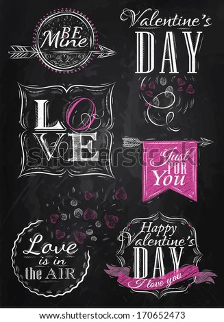 Valentine's Day and Love lettering collection of Valentine's Day from letters stylized for the drawing with chalk of pink on the blackboard. Vector - stock vector