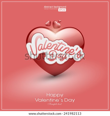 Valentine's Day background abstract. Big heart on pastel red color - stock vector