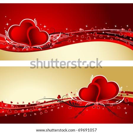 Valentine`s Day background banner - stock vector