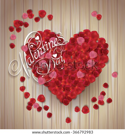 valentine's day background. Greeting Card. Heart made from rose petals on wooden texture - stock vector