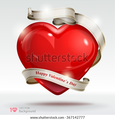 Valentine's Day background. Red hearts with ribbon. Vector Eps 10. - stock vector