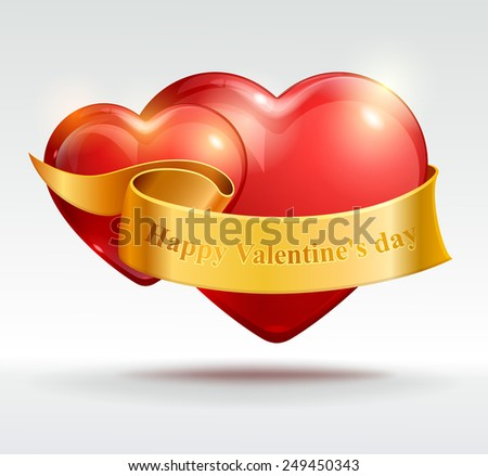 Valentine's Day background. Two red hearts with ribbon. Vector Eps 10. - stock vector