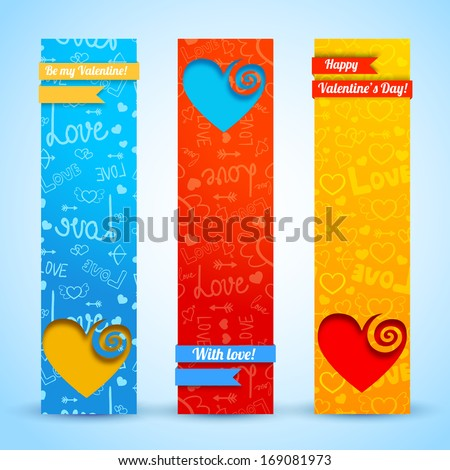 Valentine`s day banners set. Design concept. Vector Illustration, eps10, contains transparencies. - stock vector