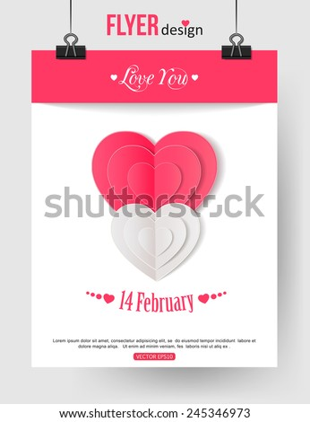 Valentine's Day brochure template with paper hearts and place for text. Abstract typographical flyer. Vector illustration. - stock vector