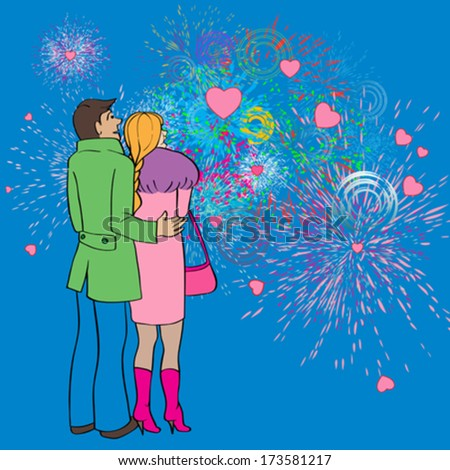 Valentine's Day card, cartoon hand drawn illustration of two lovers watching fireworks and hearts in the sky - stock vector