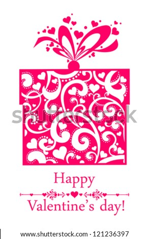Valentine's day card. Celebration background with gift boxes and place for your text. vector illustration - stock vector