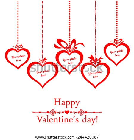 Valentine's day card. Celebration background with heart and place for your text. Photo frame. Vector Illustration  - stock vector