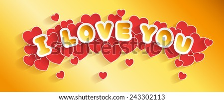 Valentine's Day card header. Handmade font.  EPS 10. Transparent editable shadows. Smartly grouped and layered. - stock vector