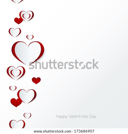 Valentine's day card. Seamless border. Abstract paper hearts. Love background. - stock vector
