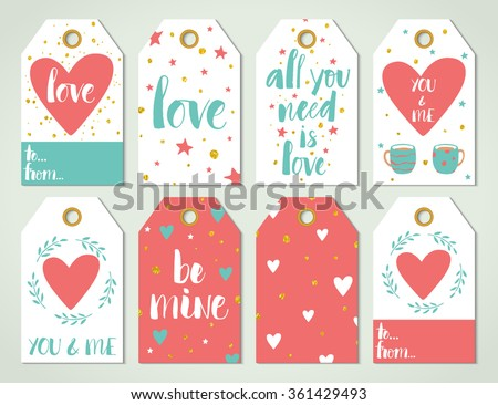Valentine's day card templates with modern calligraphy and design elements. Brush painted letters, vector illustration. - stock vector