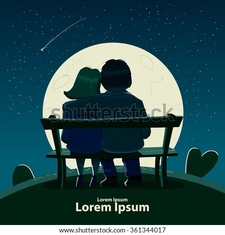 Valentine's Day card, vector illustration, happy couple sitting on a bench, love, hugs, cartoon characters, romantic date, night, moon, stars  - stock vector