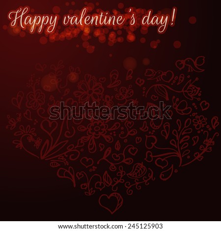 Valentine's Day card with drawings by hand and greeting inscription - stock vector