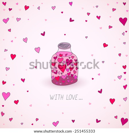 Valentine's Day card with hearts in the jar - stock vector