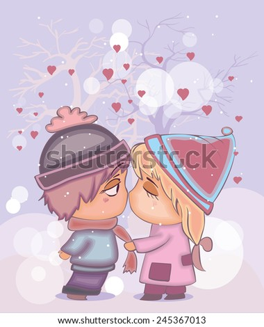 Valentine's Day card with kissing couple - stock vector