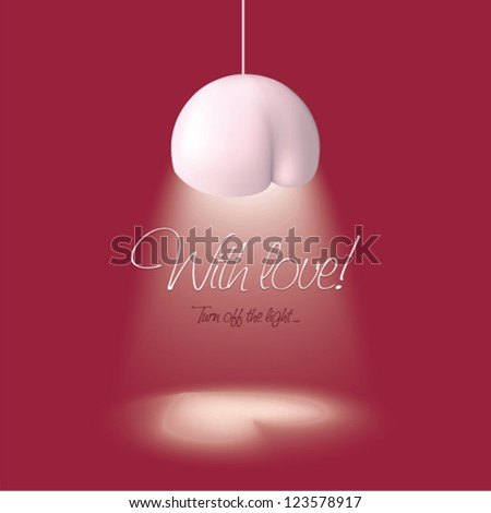 Valentine's day card with lighting in the shape of heart - stock vector