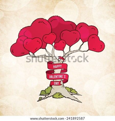 Valentine's day card with love tree - stock vector