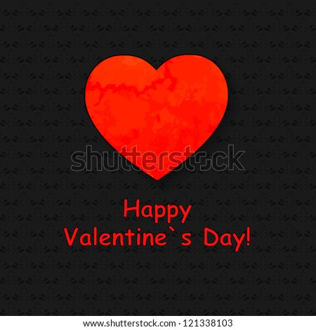 Valentine's day card with paper heart. Black ornament background with red heart. - stock vector