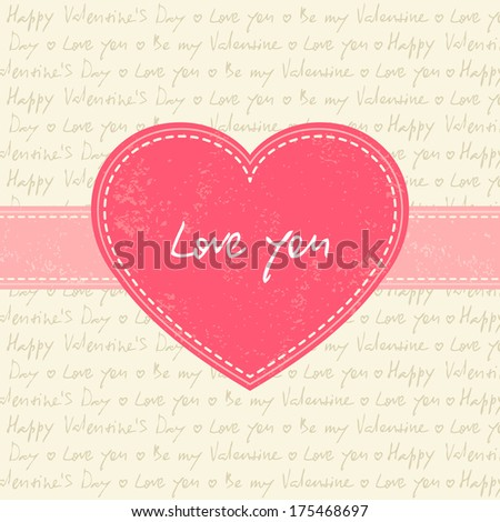 Valentine's day card with pink heart and ribbon - stock vector