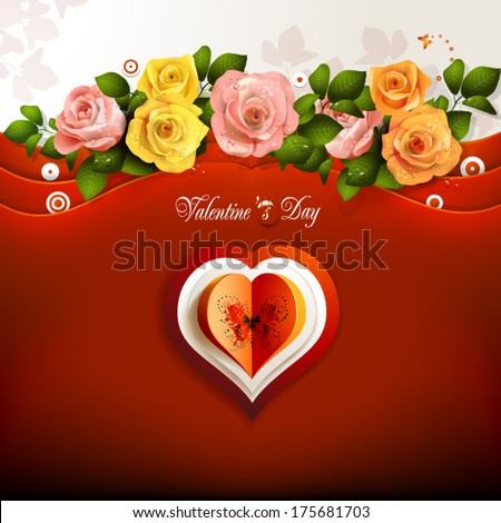 Valentine's day card with roses and hearts - stock vector