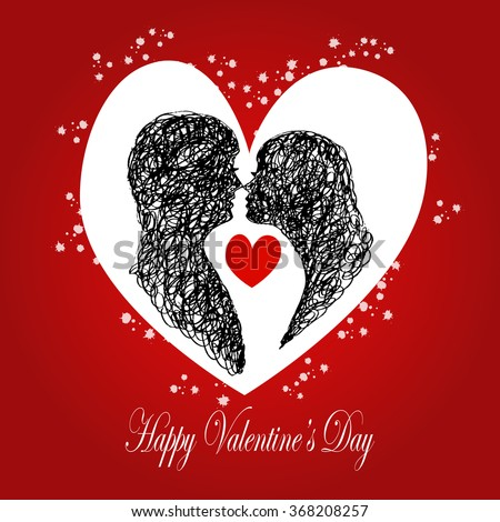 Valentine's day card with silhouettes of loving couple. Hand drawing illustration. - stock vector