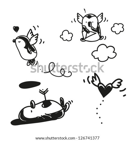 valentine's day cartoons set, cute penguins in love - stock vector