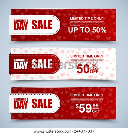 Valentine's day collection sale banners - stock vector