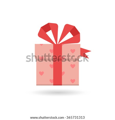 Valentine's day concept illustration or icons with gift box and heart symbol. For advertising and promotion. Eps10, vector. Flat - stock vector