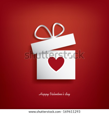 Valentine's day concept illustration with gift box and heart symbol sutiable for advertising and promotion. Eps10 vector illustration - stock vector