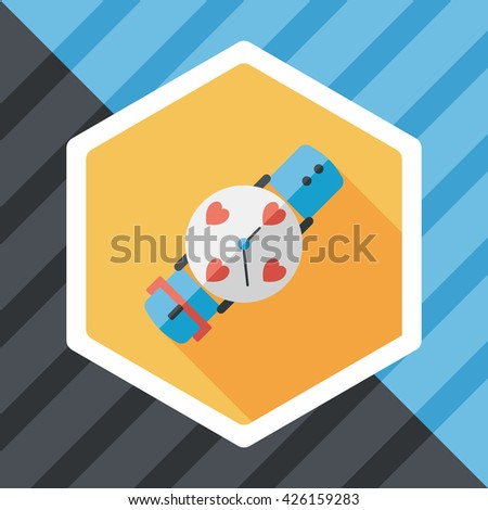 Valentine's Day couple watch flat icon with long shadow,eps10 - stock vector