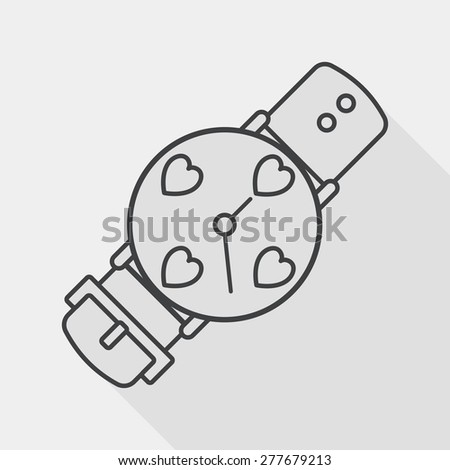 Valentine's Day couple watch flat icon with long shadow, line icon - stock vector