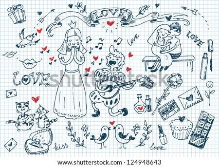 Valentine's day doodles set - stock vector