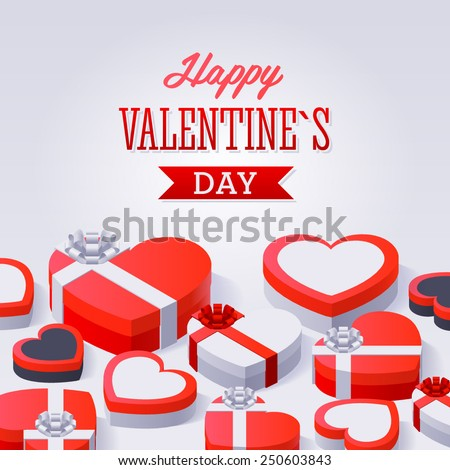 Valentine's Day Gift Boxes. Concept illustration with gift box and heart symbol sutiable for advertising and promotion - stock vector
